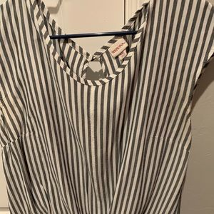Tie front striped shirt